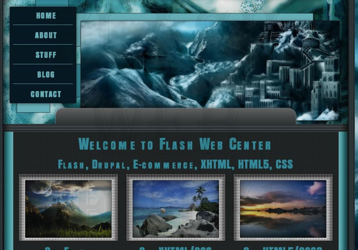 Iced turquoise blue color throughout the template with fantastical background as