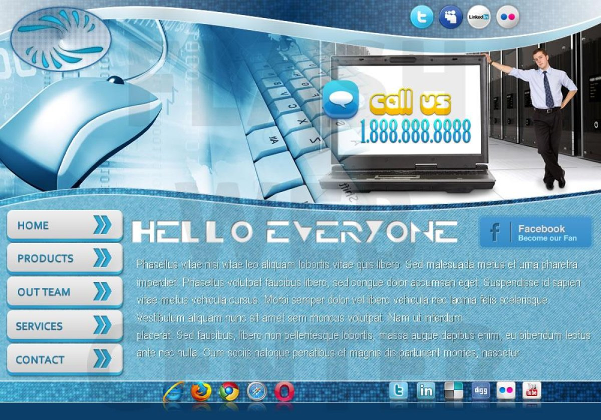 great communications or it support website template with blue mouse and guy standing next to an open laptop image