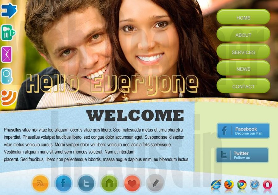 Young happy couple faces, light friendly blue and green colors with bright butto
