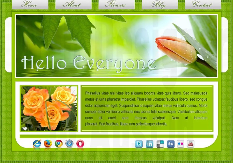 Green colors for this all CSS layout with orange flowers on the stage.